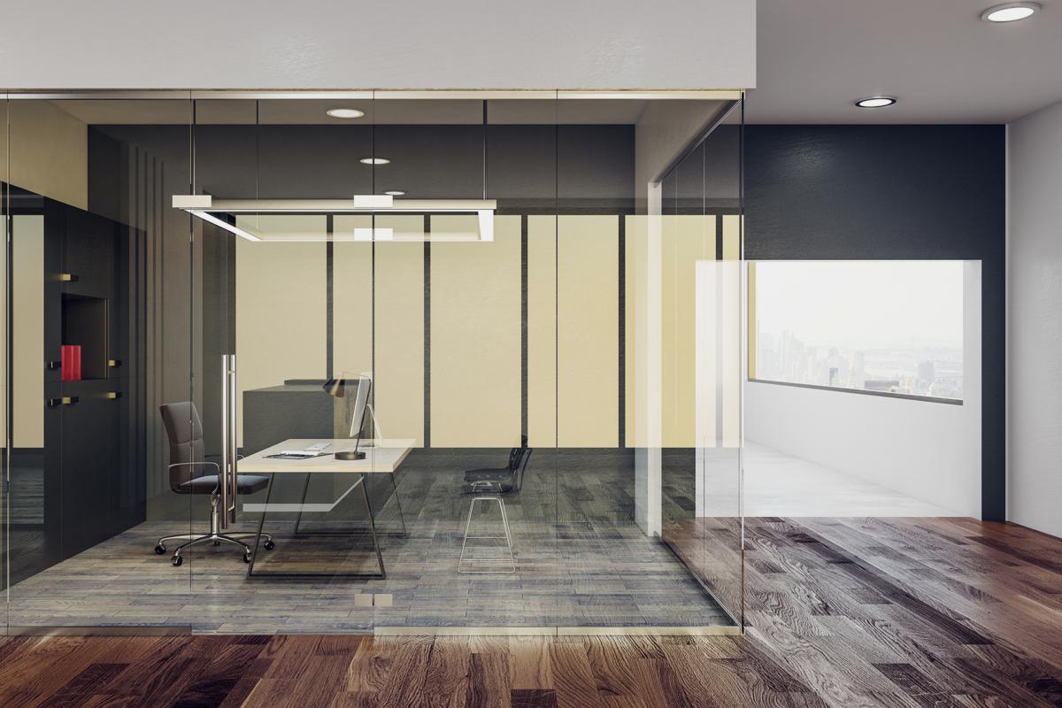 Nowoczesne biuro ze szklaną ścianą